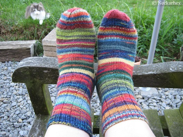 colourful self-knitted socks and a cat in the background